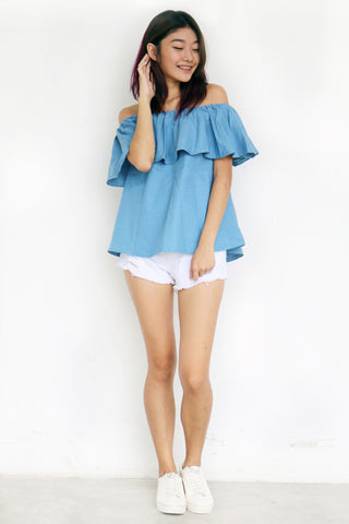 Breille Off Shoulder Top (Light Blue)