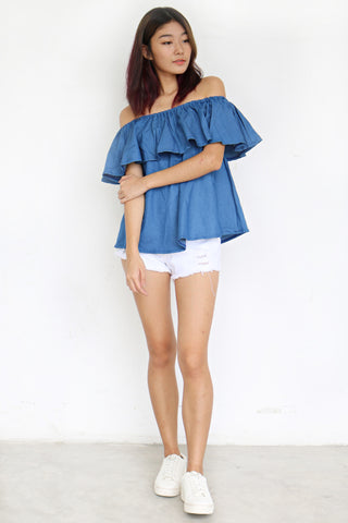 Breille Off Shoulder Top (Blue)