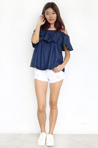 Breille Off Shoulder Top (Dark Blue)