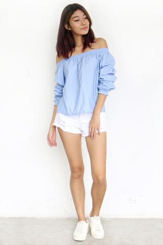 Ovald Off Shoulder Top (Blue)