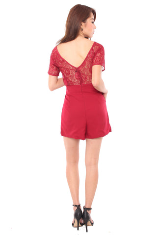 Felice Lace Playsuit (Red)
