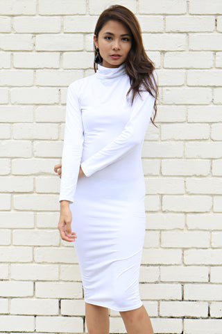 Kardashian Turtleneck Dress (White)