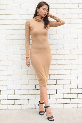 Kardashian Turtleneck Dress (Taupe)
