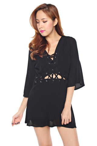 Reeve Lace Me Up Dress (Black)