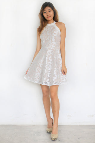 Loxene Embossed Dress (White)