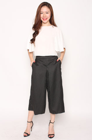 Yuliana Stripes Culottes (Dark Grey)