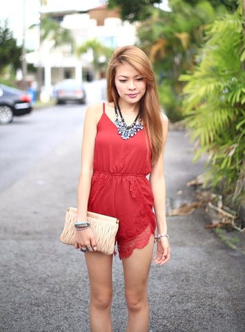 Kaelyn Lace Playsuit (Red)