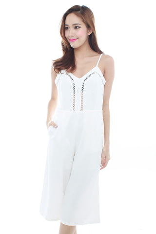 Pacee Culottes Playsuit (White)