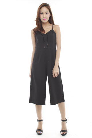 Pacee Culottes Playsuit (Black)