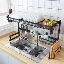 Load image into Gallery viewer, Black Stainless Steel Drainning Dish Rack
