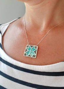 Barn Quilt Square Necklace