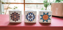 Load image into Gallery viewer, Barn Quilt Wooden Tealight Candle Holders Set