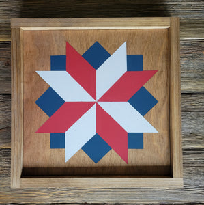 handmade patriotic barn quilt with stain and paint