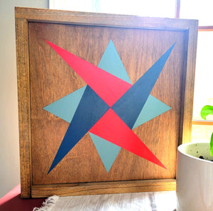 handmade star barn quilt with stain and paint