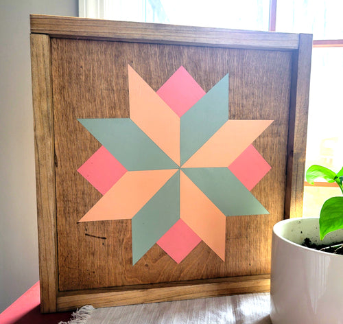 handmade flower barn quilt with stain and pastel paint