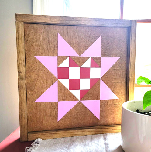 handmade Valentine barn quilt with stain and paint