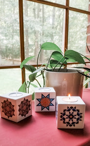 Barn Quilt Wooden Tealight Candle Holders Set
