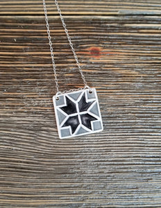Barn Quilt Block Necklace - Black