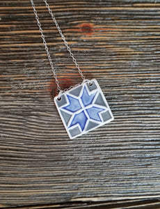 Barn Quilt Block Necklace - Dark Blue
