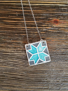 Barn Quilt Block Necklace - Light Blue