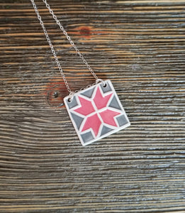Barn Quilt Block Necklace - Red