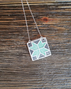 Barn Quilt Block Necklace - Seafoam Green
