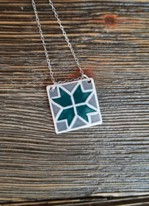 Barn Quilt Block Necklace - Turquoise