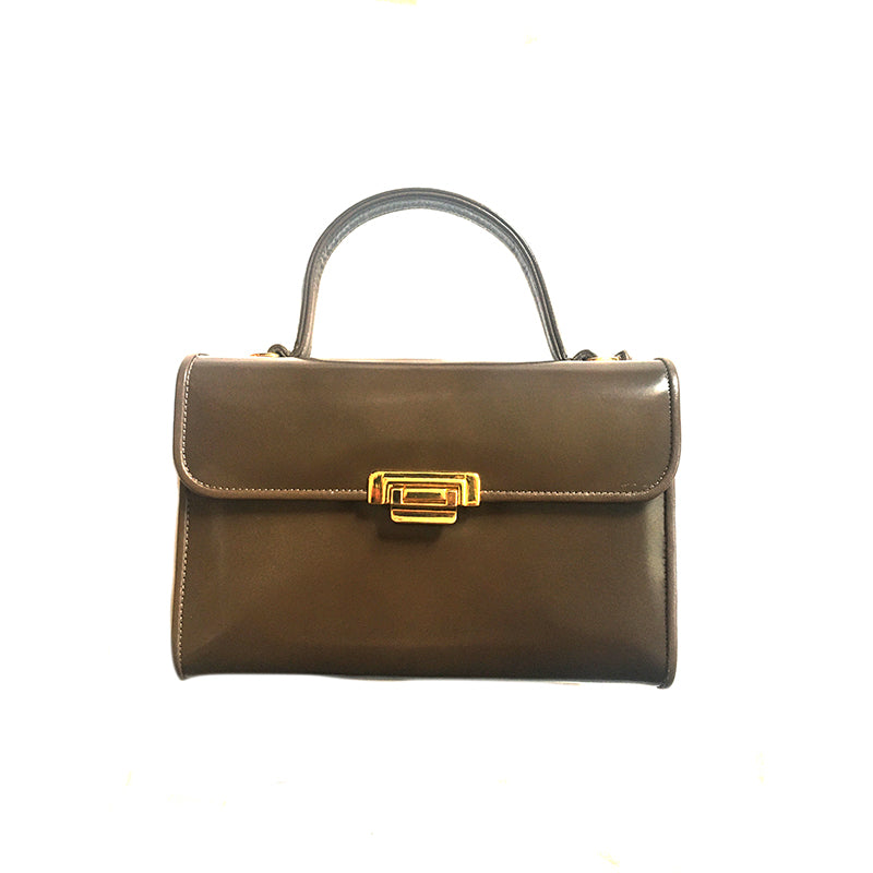 Brown Vinyl Box Bag