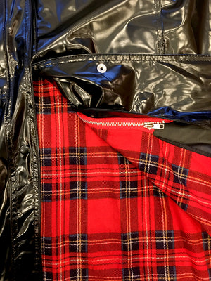 Black Vinyl Trench Coat with Red Plaid Lining