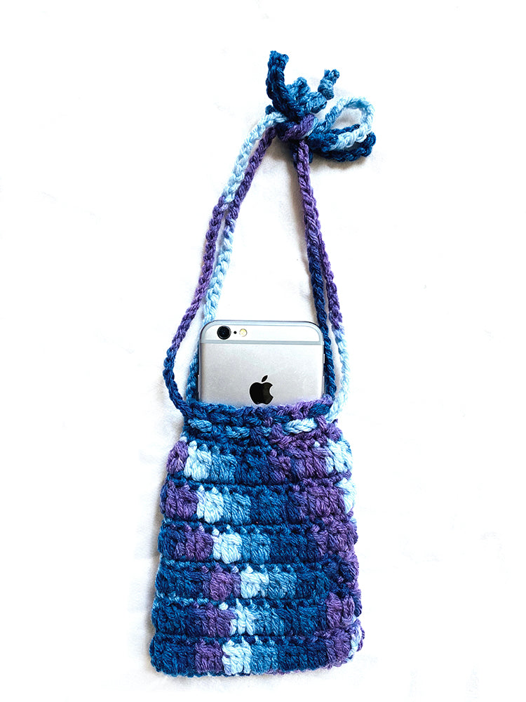 Crochet iPhone Wristlet - Blue