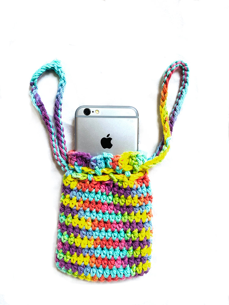 Crochet iPhone Wristlet - Rainbow