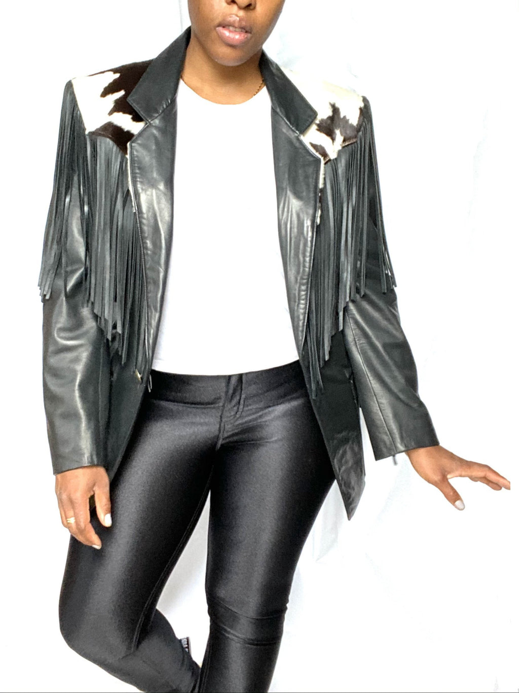 Black Leather & Cowhide Fringe Blazer