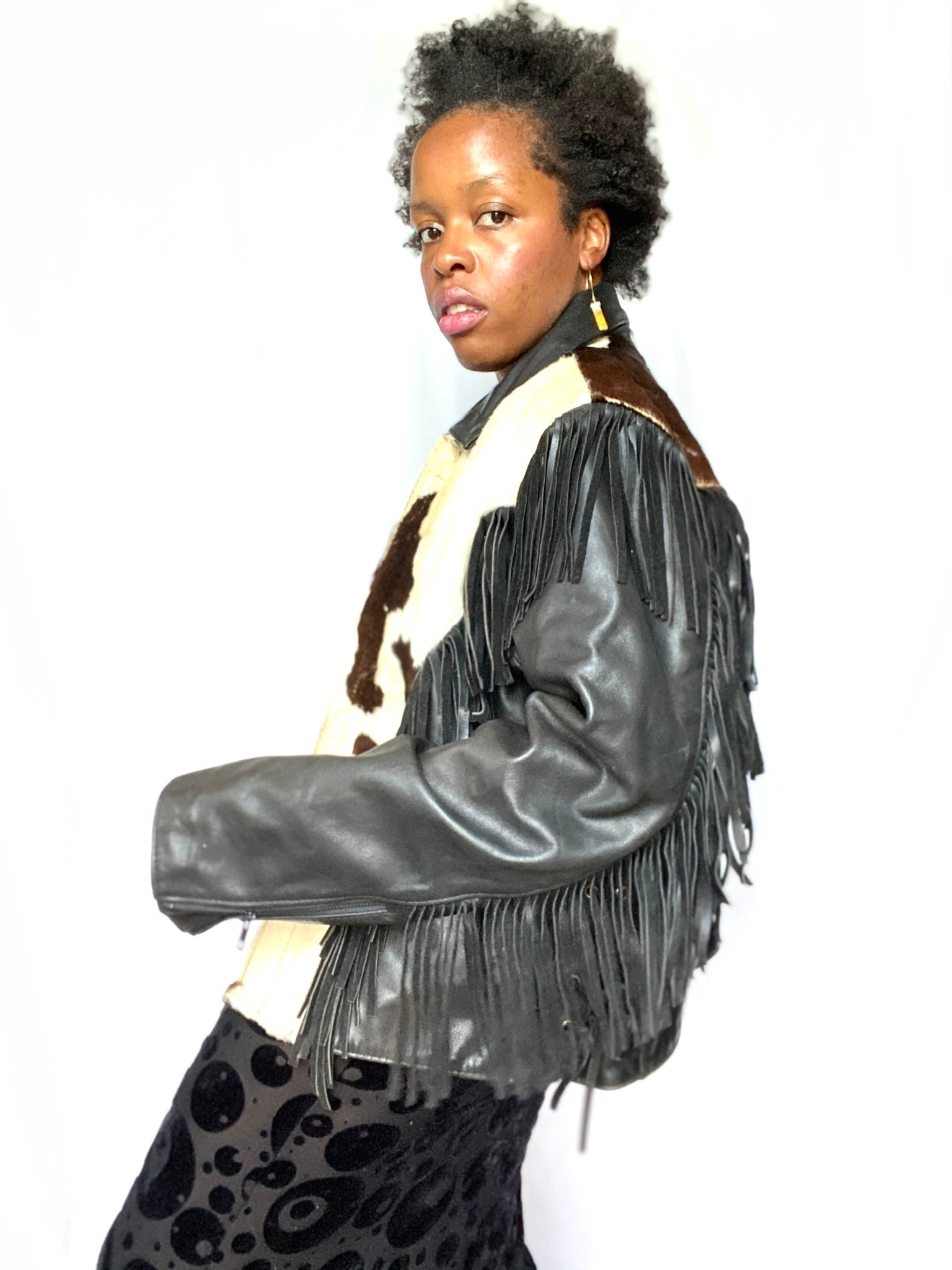 Black Leather & Cowhide Fringe Jacket II