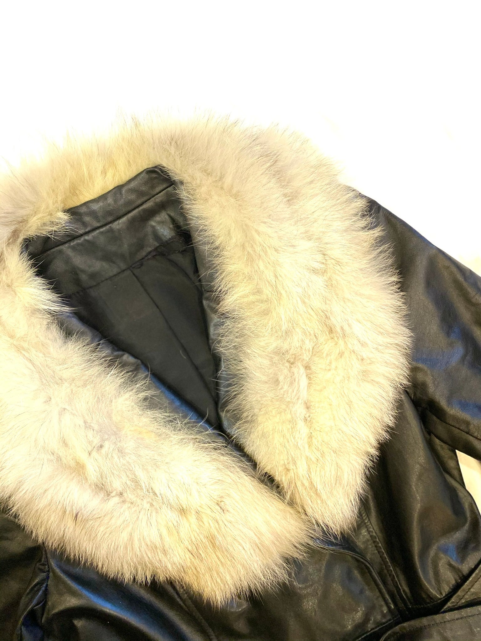Black Leather Trench with Fox Fur Collar