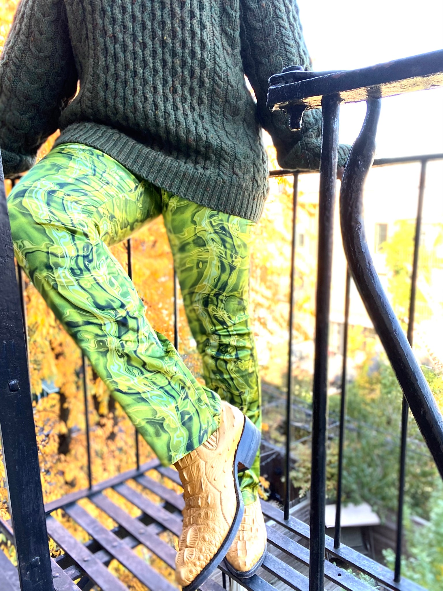 Lime Green Satin Pants by MECCA