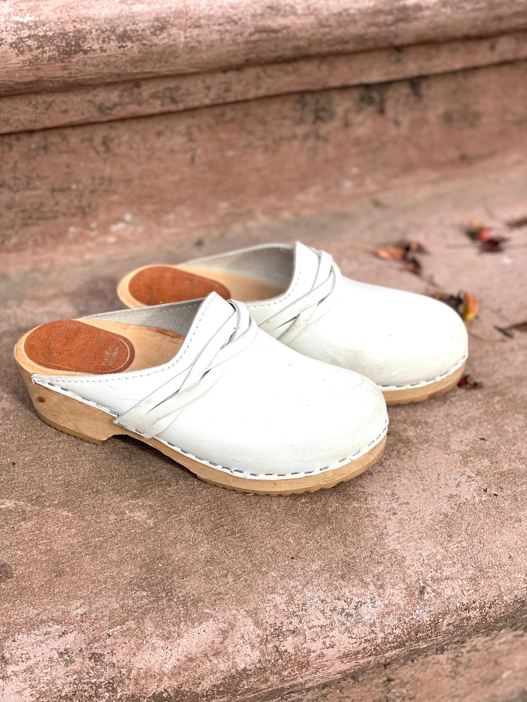 Swedish White Leather Wooden Clogs