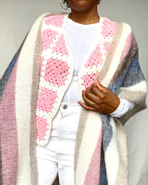Pink & White Crocheted Vest
