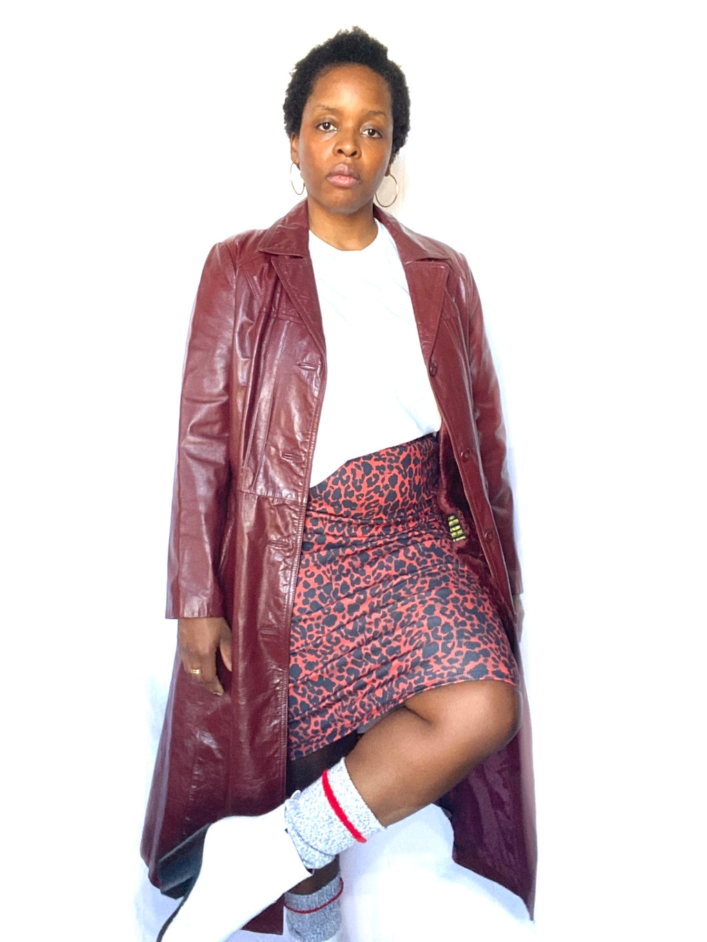Burgundy Leather Trench with Winter Lining