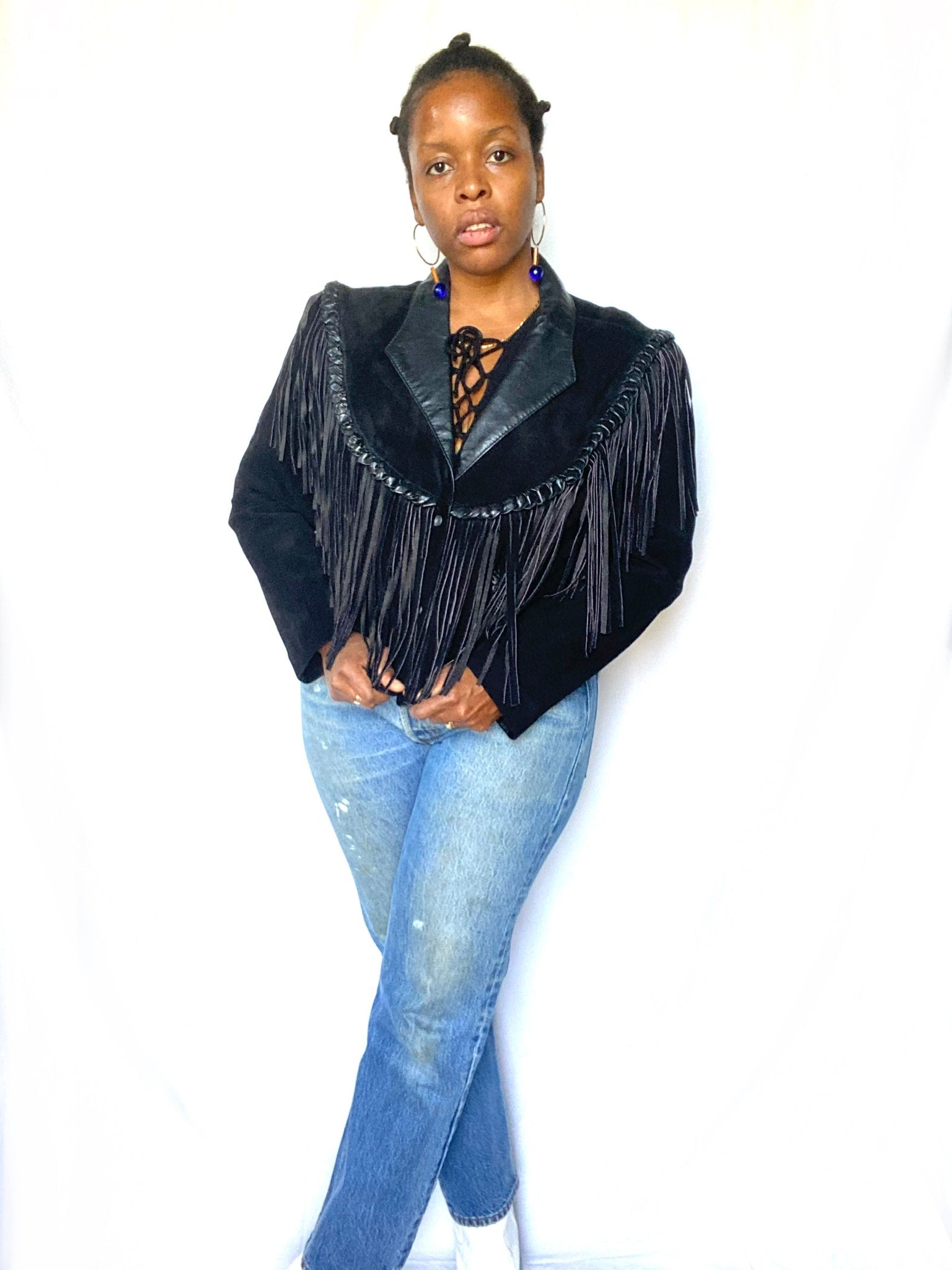 Black Suede Fringe Jacket