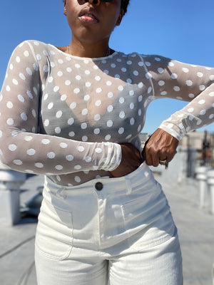 Sheer White Polka Dot Top