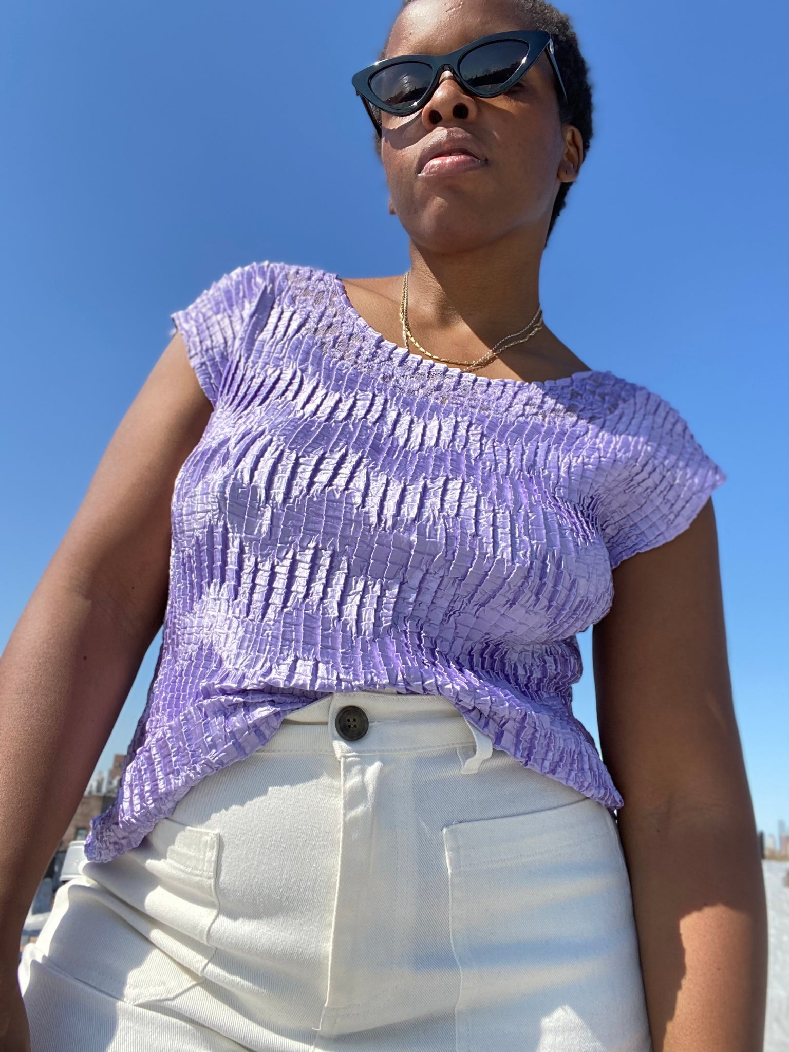 Lavender Pleated T