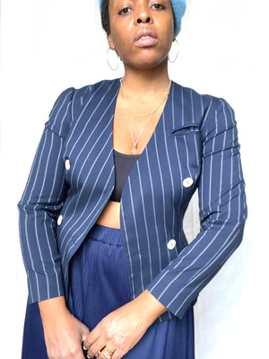 Navy Pin-Striped Suit by Jeanette Miner Paris