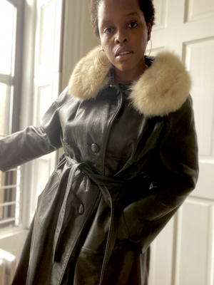 Leather Trench Coat with Fur Collar