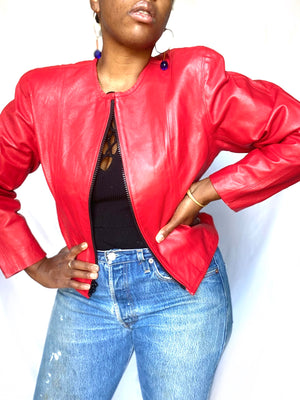 Red Leather Zip Jacket