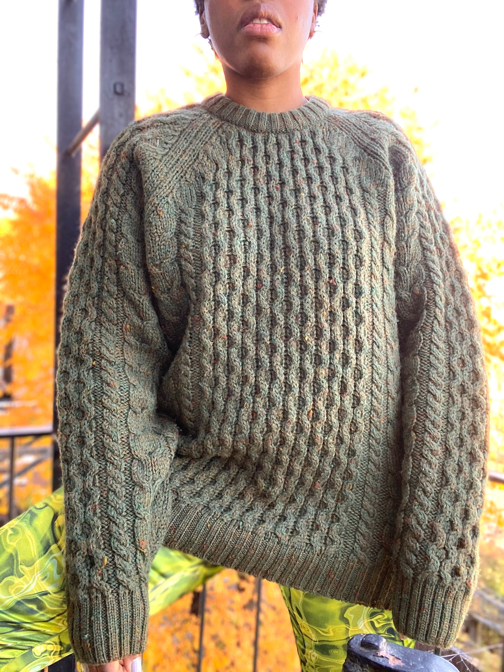 Green Cable Knit Wool Sweater