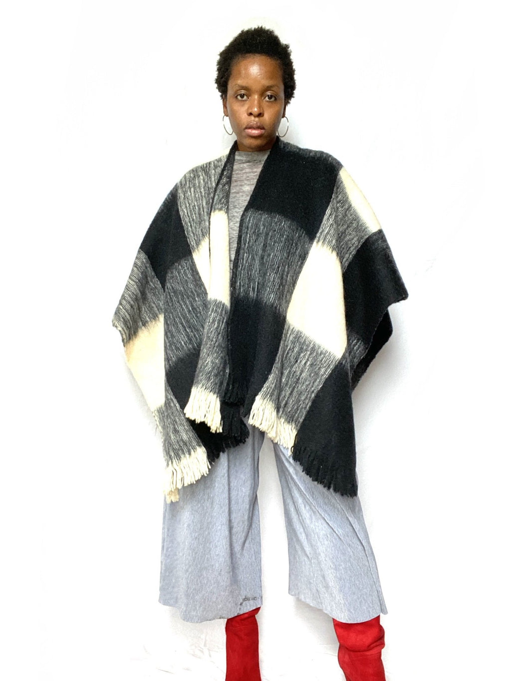 Black & White Checkered Wool Poncho