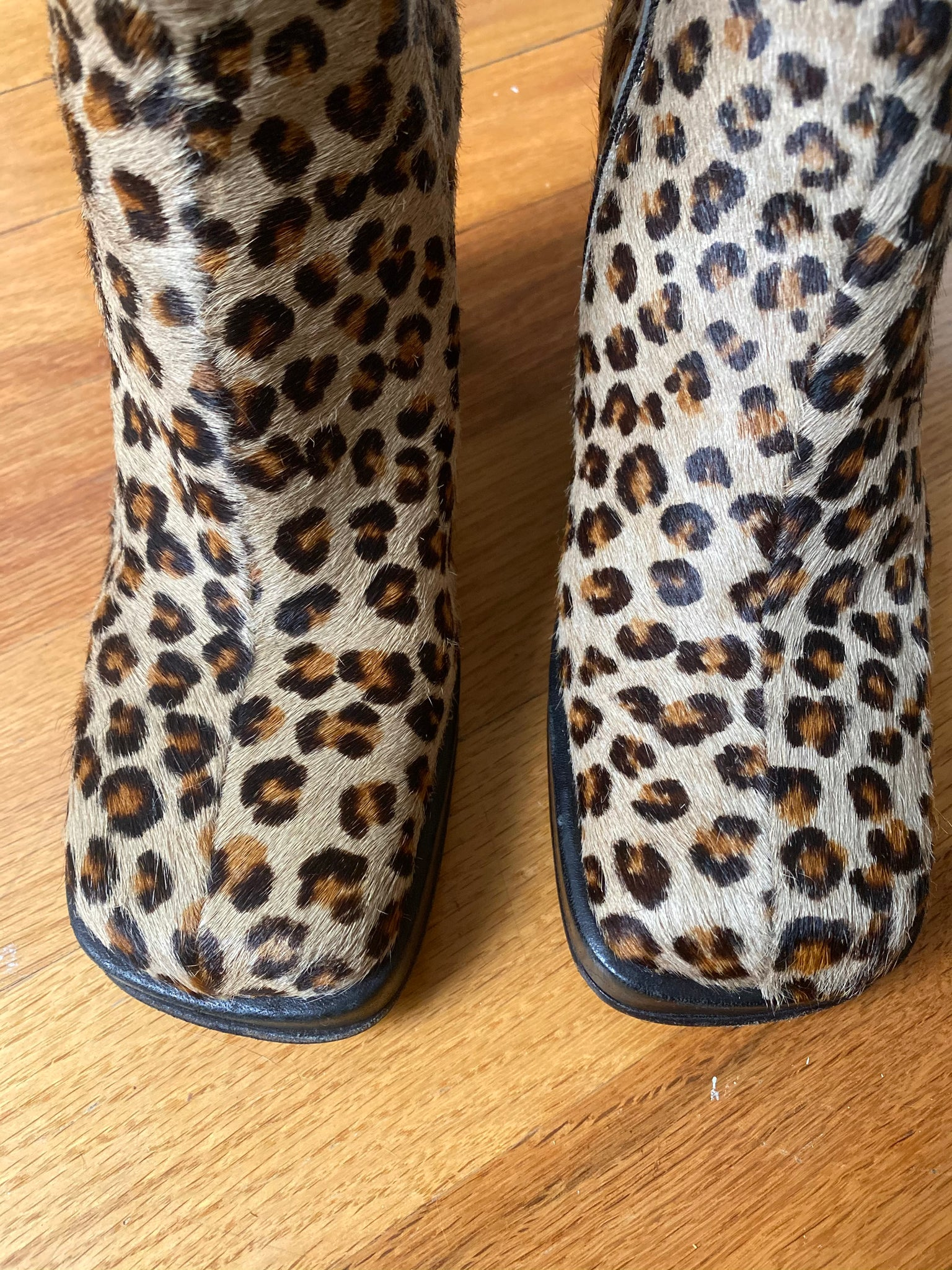Faux Cheetah Stacked Heel Boots