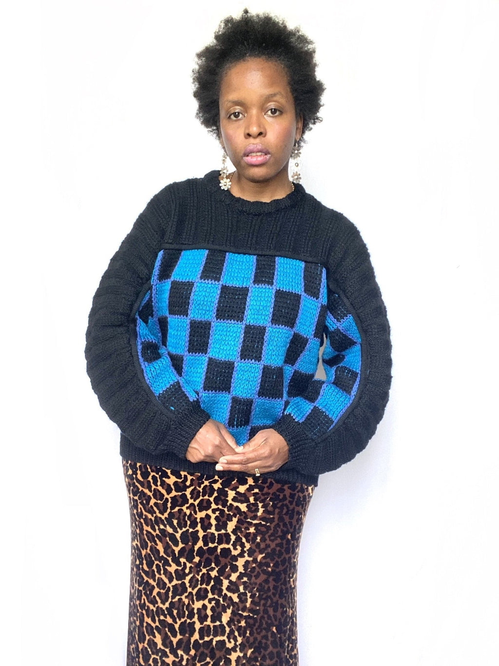 Checkered Black & Blue Sweater