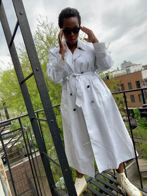 White Polkadot Trench