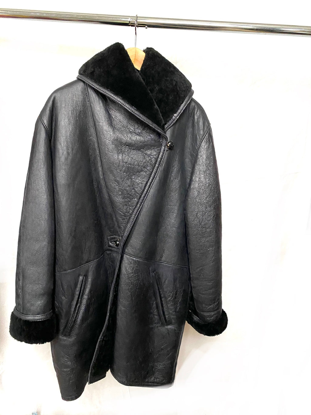 Faux Black Leather Shearling Coat